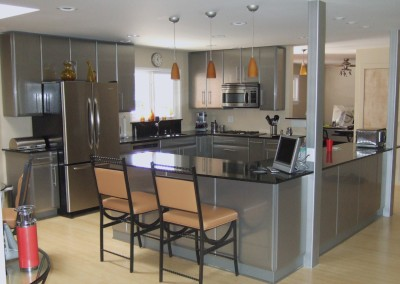 stainless steel kitchen and island