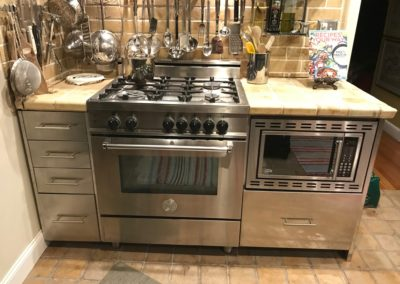 stainless steel cooking area