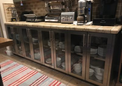 stainless steel glass door base cabinets