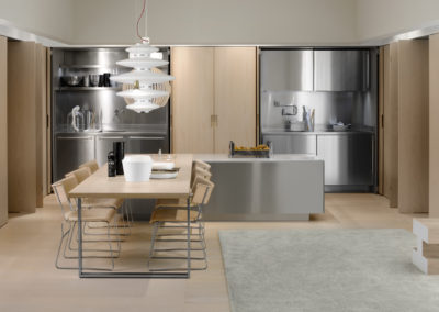 Enclosed stainless steel kitchen