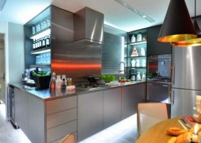 Stainless steel kitchen with led lights