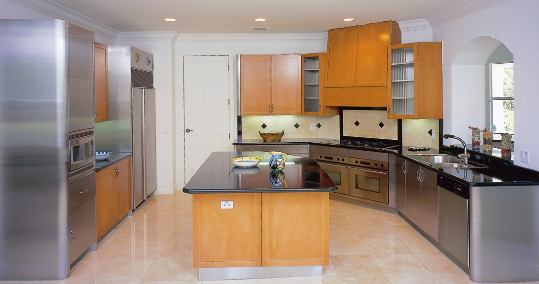 Stainless steel with Wood Doors