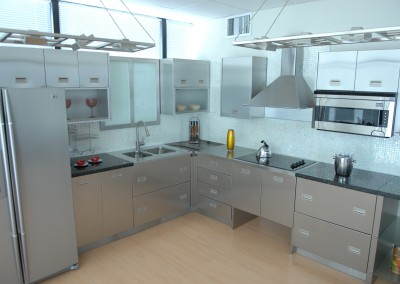 Stainless Steel L shaped kitchen