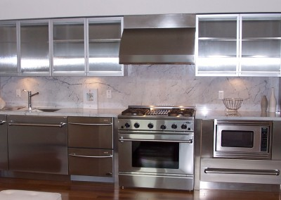 Stainless Steel L Shaped Kitchen Straight Wall