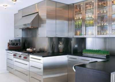 Stainless Steel Kitchen With Gl Doors