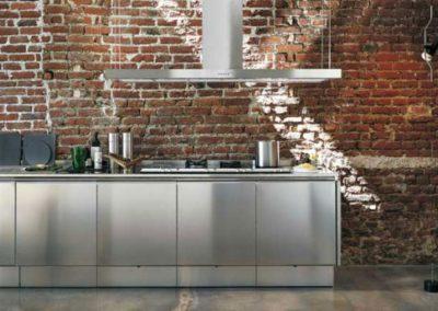 loft style stainless steel island