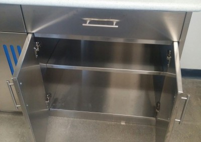 stainless steel base cabinet interior