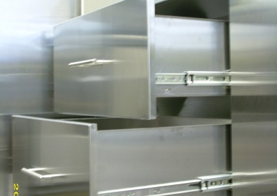 stainless steel 3 drawer side view