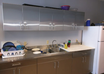stainless steel cabinets and top